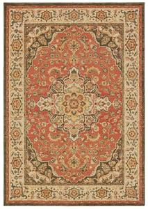 Orange, Ivory (B) Toscana 9551 Traditional / Oriental Area Rugs