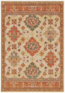 Ivory, Orange (A) Toscana 9570 Traditional / Oriental Area Rugs