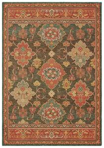 Charcoal, Orange (B) Toscana 9570 Traditional / Oriental Area Rugs