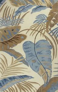 Ivory, Blue (2624) Havana Rainforest Floral / Botanical Area Rugs