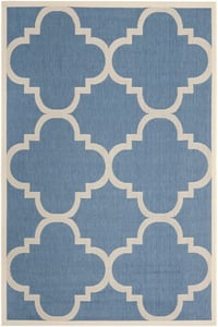 Blue, Beige (243) Courtyard CY-6243 Contemporary / Modern Area Rugs