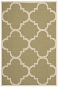 Green, Beige (244) Courtyard CY-6243 Contemporary / Modern Area Rugs