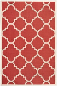 Red (248) Courtyard CY-6243 Contemporary / Modern Area Rugs