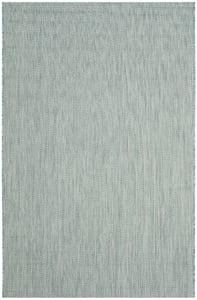 Aqua, Grey (37121) Courtyard CY-8022 Chevron Area Rugs