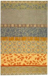 Grey, Gold, Sage (M) Rodeo Drive RD-622 Floral / Botanical Area Rugs