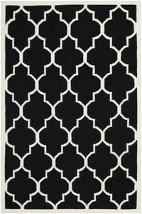 Black, Ivory (A) Dhurries DHU-632 Contemporary / Modern Area Rugs