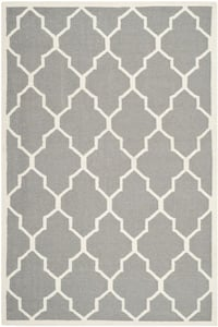 Grey, Ivory (B) Dhurries DHU-632 Contemporary / Modern Area Rugs