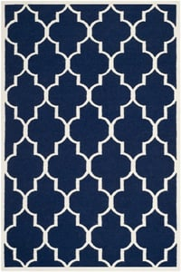 Navy, Ivory (D) Dhurries DHU-632 Contemporary / Modern Area Rugs