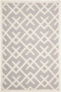 Grey, Ivory (G) Dhurries DHU-552 Contemporary / Modern Area Rugs