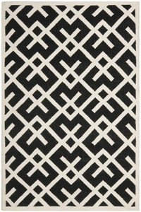 Black Ivory (L) Dhurries DHU-552 Contemporary / Modern Area Rugs