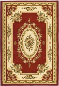 Red, Ivory (C) Lyndhurst LNH-218 Traditional / Oriental Area Rugs