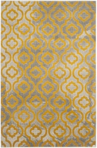 Light Grey, Yellow (C) Porcello PRL-7734 Contemporary / Modern Area Rugs