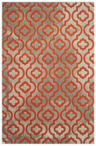 Light Grey, Orange (F) Porcello PRL-7734 Contemporary / Modern Area Rugs