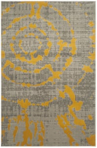 Light Grey, Yellow (C) Porcello PRL-7735 Contemporary / Modern Area Rugs