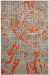 Light Grey, Orange (F) Porcello PRL-7735 Contemporary / Modern Area Rugs