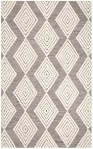 Dark Grey, Ivory (F) Blossom BLM-111 Contemporary / Modern Area Rugs