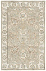 Tan, Ivory, Sage (W) Blossom BLM-702 Traditional / Oriental Area Rugs