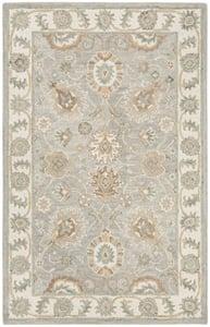 Tan, Ivory, Aqua (M) Blossom BLM-702 Traditional / Oriental Area Rugs