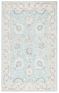 Aqua, Ivory, Grey (F) Blossom BLM-702 Traditional / Oriental Area Rugs