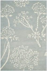 Light Blue, Ivory (A) Bella BEL-131 Floral / Botanical Area Rugs