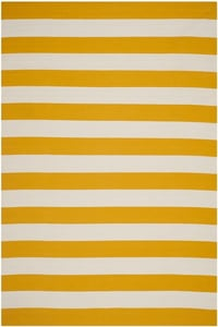 Yellow, White (A) Montauk MTK-712 Striped Area Rugs