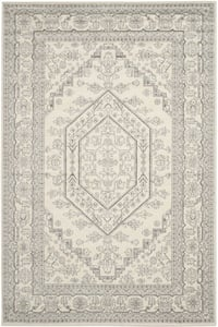 Ivory, Silver (B) Adirondack ADR-108 Traditional / Oriental Area Rugs