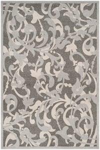 Grey, Light Grey (C) Amherst AMT-428 Floral / Botanical Area Rugs