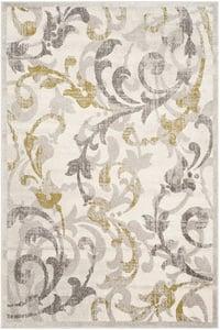 Ivory, Light Grey (E) Amherst AMT-428 Floral / Botanical Area Rugs