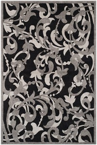 Anthracite, Light Grey (G) Amherst AMT-428 Floral / Botanical Area Rugs