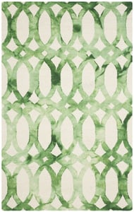 Ivory, Green (B) Dip Dye DDY-675 Contemporary / Modern Area Rugs