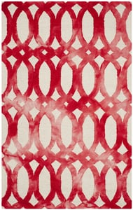 Ivory, Red (C) Dip Dye DDY-675 Contemporary / Modern Area Rugs