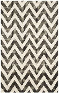 Ivory, Charcoal (D) Dip Dye DDY-715 Chevron Area Rugs