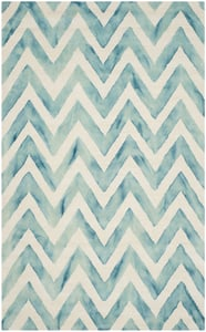 Ivory, Turquoise (H) Dip Dye DDY-715 Chevron Area Rugs