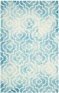 Turquoise, Ivory (D) Dip Dye DDY-538 Contemporary / Modern Area Rugs