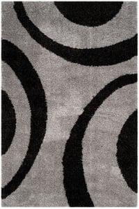 Grey, Black (C) Portofino Shag PTS-213 Shag Area Rugs