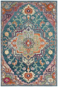 Teal, Rose (T) Crystal 501 Vintage / Overdyed Area Rugs