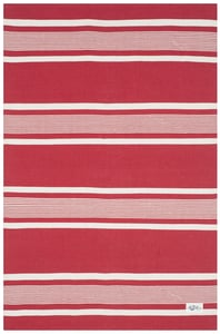 Red, Ivory Hanover Stripe LRL2461 Striped Area Rugs