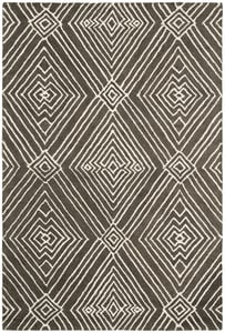 Charcoal, Ivory Isabella LRL6608 Geometric Area Rugs