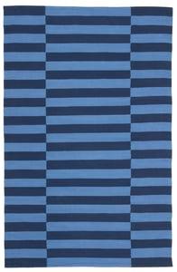 Blue, Navy (A) Ludlow Stripe LRL7350 Contemporary / Modern Area Rugs