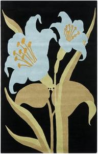 Black, Blue (A) Soho III SOH-792 Floral / Botanical Area Rugs