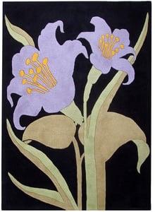 Black, Purple (B) Soho III SOH-792 Floral / Botanical Area Rugs