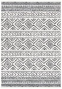 Ivory, Black (D) Tulum TUL-267 Bohemian Area Rugs