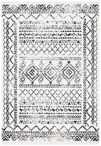 Ivory, Black (D) Tulum TUL-268 Moroccan Area Rugs