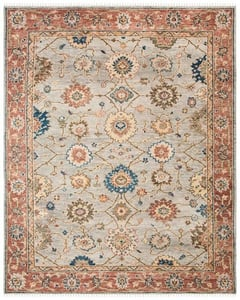 Grey, Red (F) Samarkand SRK-111 Traditional / Oriental Area Rugs