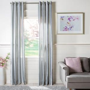 Blue, White (WDT-1043) Axton Curtain Reid Semi-Sheer Striped Curtains
