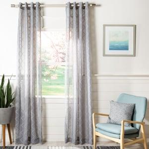 Grey (WDT-1047B) Felicity Curtain Grace Semi-Sheer Solid Curtains