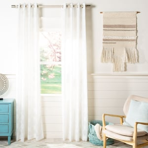 White (WDT-1048A) Exeter Curtain Hattie Semi-Sheer Contemporary / Modern Curtains