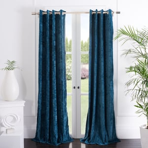 Blue (WDT-1055A) Hanley Curtain Gwendolyn Velvet Solid Curtains