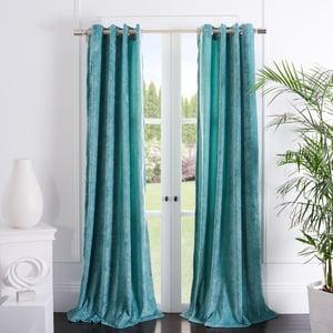 Teal (WDT-1055B) Hanley Curtain Gwendolyn Velvet Solid Curtains
