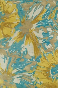 Gold, Turquoise, Light Brown (05) Brushstrokes BRS-06 Contemporary / Modern Area Rugs